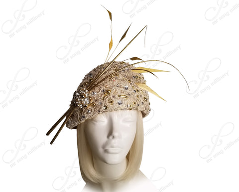 Mr. Song Millinery Beret Cloche Lace Hat With Rhinestones - Gold