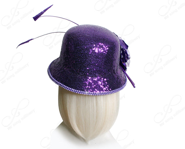 Mr. Song Millinery Bell Cloche Small Brim Hat With Floral & Feathers - Purple
