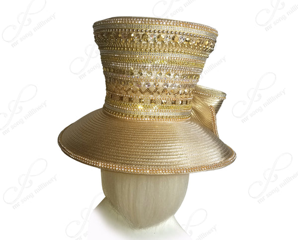 """First Lady"" All-Season High Crown Bead & Rhinestone Pavéd Hat - 2 Styles"
