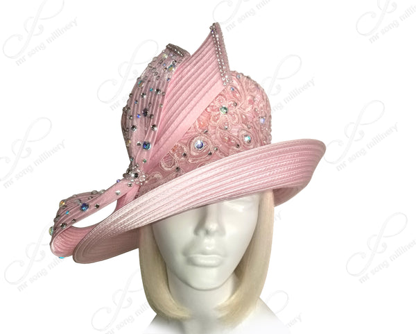 All-Season Lace Pavé Hat With Rhinestone Bow - Pink
