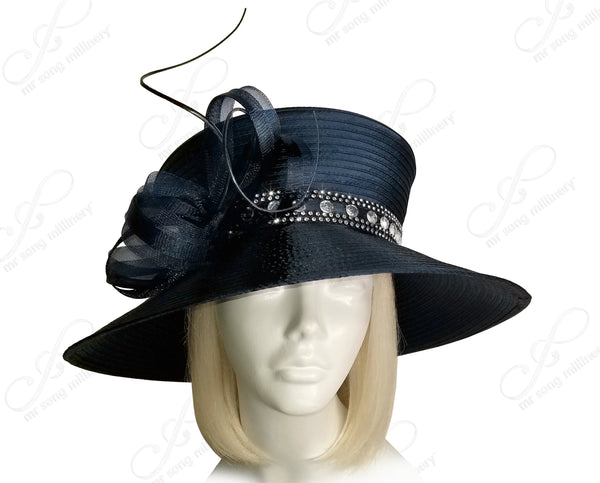 All-Season 2-Tier Crown Wide Brim With Crin Rhinestones - Navy Blue