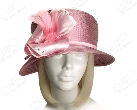 All-Season Small Brim Hat With Organza Flower - 2 COLORS