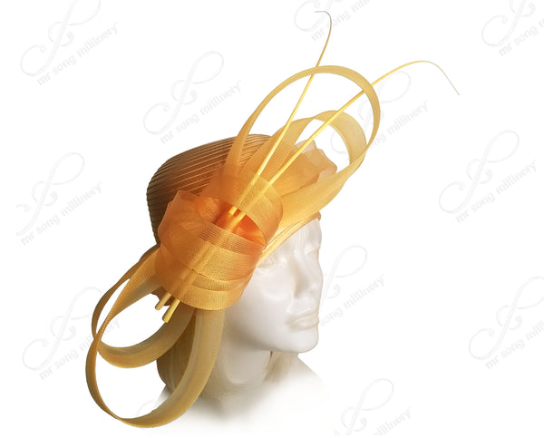 Juliet Cloche Skull Hat With Crin Loop Accent - Mango Orange