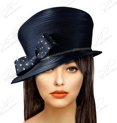 Bubble Cloche Hat With Rhinestone Bow - Q37