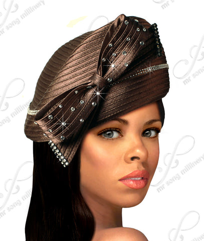 Beret Cloche Hat With Rhinestone Knot Bow - Q39