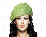 Mr. Song Millinery Beret Cloche Hat With Premium Lace - Lime Green