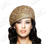 Mr. Song Millinery Beret Cloche Hat With Premium Lace - Taupe