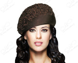 Mr. Song Millinery Beret Cloche Hat With Premium Lace - Brown