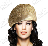 Mr. Song Millinery Beret Cloche Hat With Premium Lace - Gold