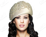 Mr. Song Millinery Beret Cloche Hat With Premium Lace - Ivory/Gold