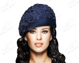 Mr. Song Millinery Beret Cloche Hat With Premium Lace - Navy Blue