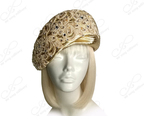 All-Season Beret Cloche Hat With Premium Lace & Rhinestones - Assorted Colors