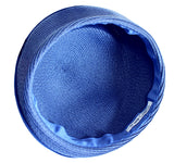 Straw-Tagline Structured Beret Cloche Hat With Rhinestones - Sapphire Blue