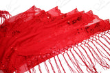 Sequin Lace Shawl Wrap Cape Drape - Red
