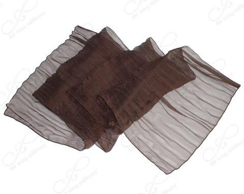 Mr. Song Millinery Sheer Crinkle Shawl Wrap Scarf Drape Cape - Brown