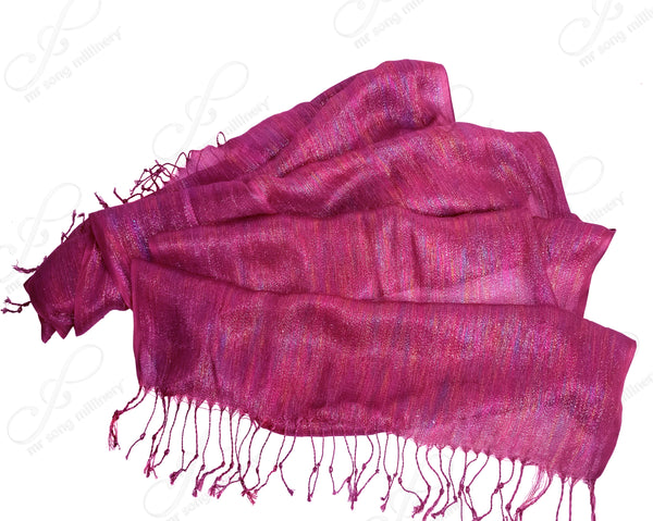 Shimmery Large Scarf Shawl Wrap Cape With Fringes - 4 Colors