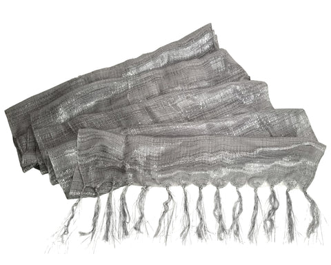 Shimmery Scarf Shawl Wrap With Fringes - Silver