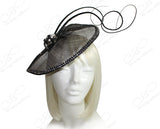 Profile Dish Sinamay Fascinator - Metallic Black
