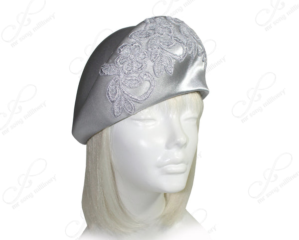 Mr. Song Millinery Satin Beret Cloche Hat With Premium Lace - 3 Colors