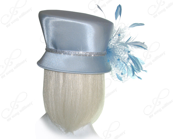 Mr. Song Millinery Slant Crown Small Brim Hat With Feather Cluster - Ice Blue