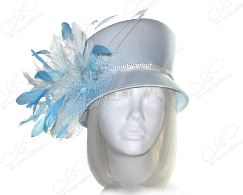 Slant Crown Small Brim Hat With Feather Cluster - Ice Blue