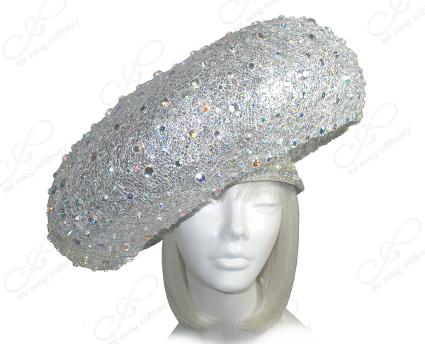 "Mr. Song Millinery ""Birdnest"" Paillette Lace Hatinator - Silver"
