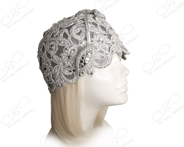 Mr. Song Millinery Juliet Cloche Hat With Pavéd Lace - 2 Colors