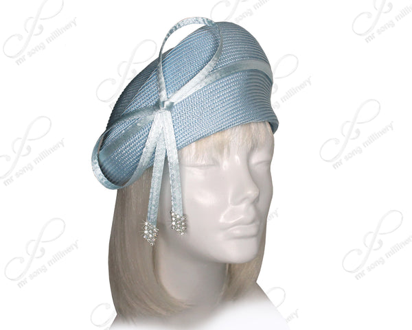 Mr. Song Millinery Straw-Tagline Structured Beret Cloche Hat With Rhinestones - 7 COLORS
