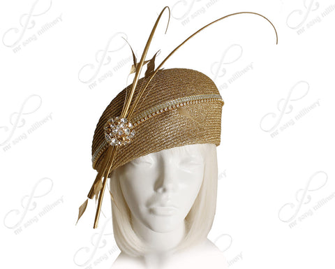 Tagline-Straw Structured Beret Cloche Hat Cluster Rhinestones - 2 Colors