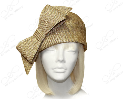 Mr. Song Millinery Straw-Tagline Beret Cloche Hat With Bow - Antique Gold