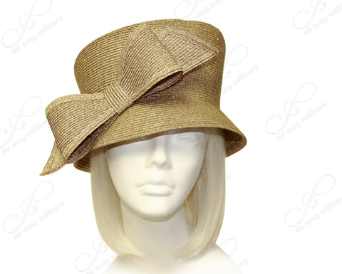 Mr. Song Millinery Slant-Crown Cloche Hat With Bow - Antique Gold
