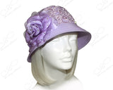 Tagline Straw Bell Cloche Hat With Lace - Lavender