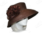 Tagline Straw Wide-Brim Hat With Organza Flower Accent - Brown