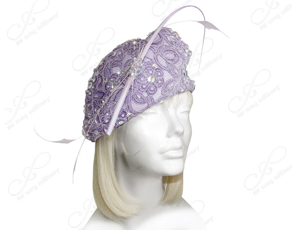 Mr. Song Millinery Beret Cloche Hat With Premium Lace & Rhinestones - Lavender
