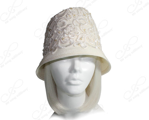 Year-Round Tagline Fedora Lace Crown Small Brim Hat - Ivory