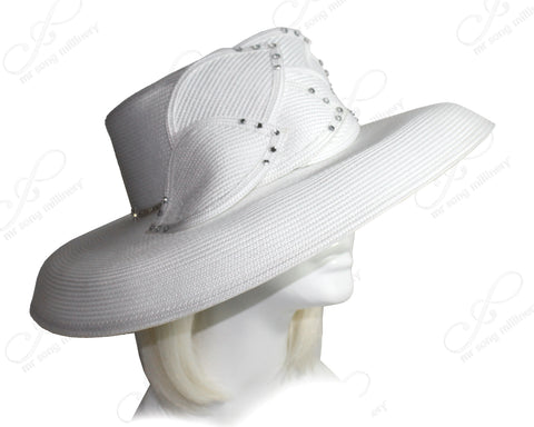 Mr. Song Millinery Derby/Ascot Tagline Straw Wide Structured Brim Hat - White