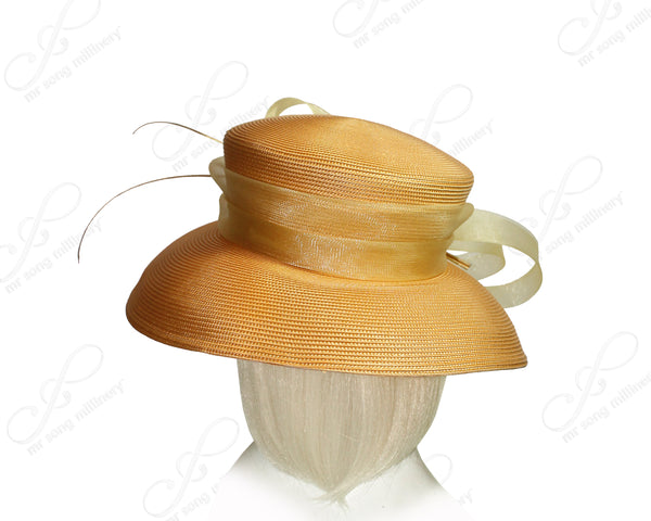 Mr. Song Millinery Derby/Ascot Tagline Straw Hat With Medium-Wide Brim - Mustard Yellow