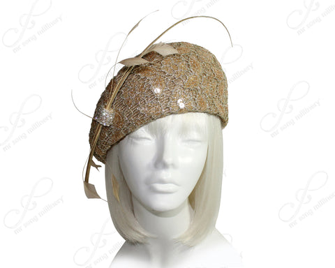 Mr. Song Millinery Tagline Structured Beret Cloche Hat With Pavéd Lace - Gold