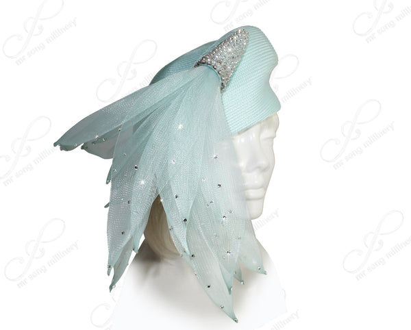 Mr. Song Millinery Tagline Beret Cloche Hat With Crin Tassels - Aqua Blue