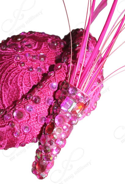 Mr. Song Millinery Beret Cloche Hat With Premium Lace & Rhinestones - Fuchsia Pink