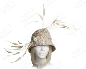 Mr. Song Millinery Tagline Laced Toque Cloche Bucket Hat - Antique Gold