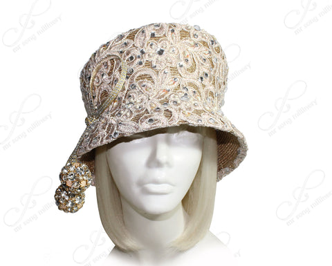 Mr. Song Millinery Tagline Slant-Crown Lace Bucket Cloche Hat - Gold