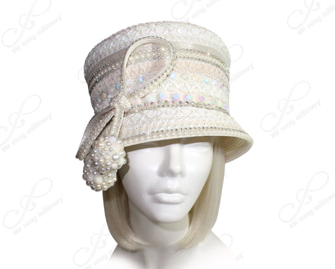 Mr. Song Millinery Tagline Slant-Crown Beaded Bucket Cloche Hat - Ivory Pearl