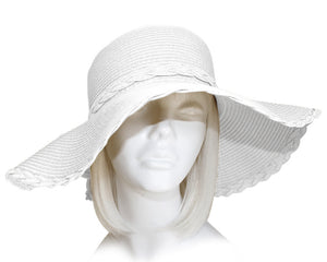 Mr. Song Millinery Wide-Brim Braided Tagline Straw Summer Floppy Hat - 3 Colors