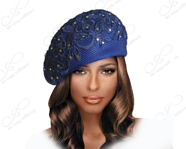 Straw-Tagline Beret Cloche Hat With Premium Lace - Assorted Colors