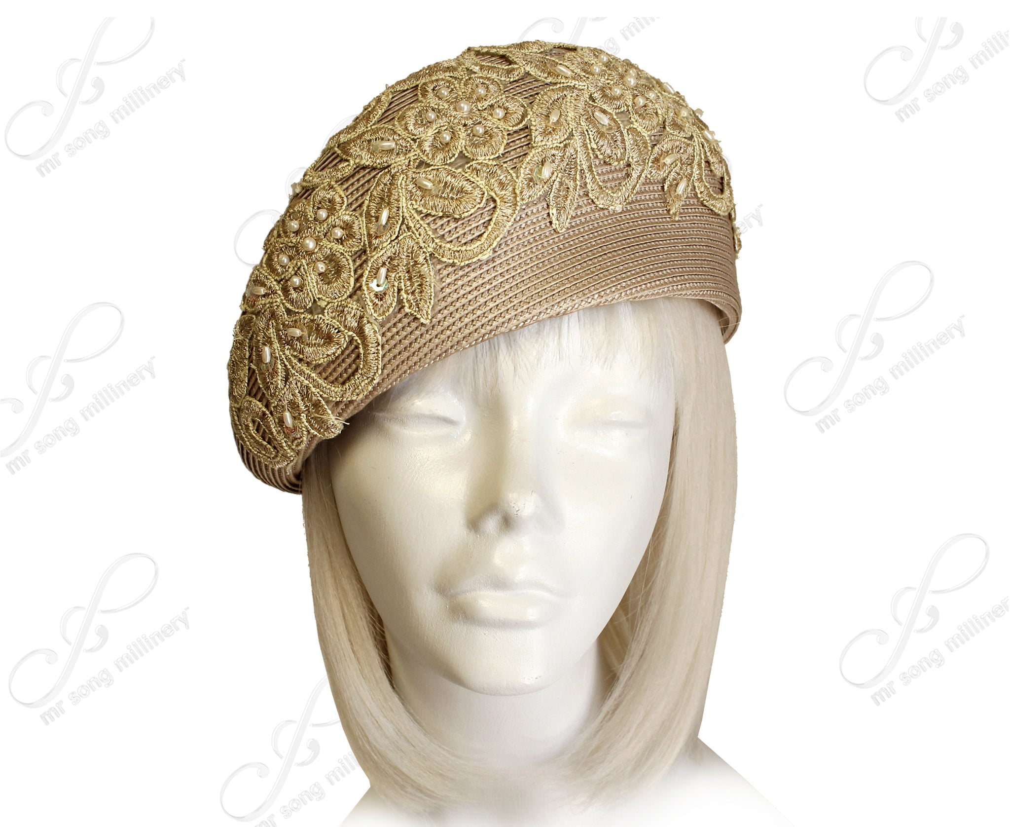 Mr. Song Millinery Straw-Tagline Beret Cloche Hat With Premium Lace - Assorted Colors