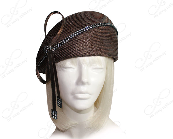Mr. Song Millinery Straw-Tagline Structured Beret Cloche Hat With Crystal Rhinestones