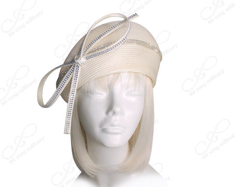 Mr. Song Millinery Tagline Structured Beret Cloche Hat With Crystal Rhinestones - 3 COLORS