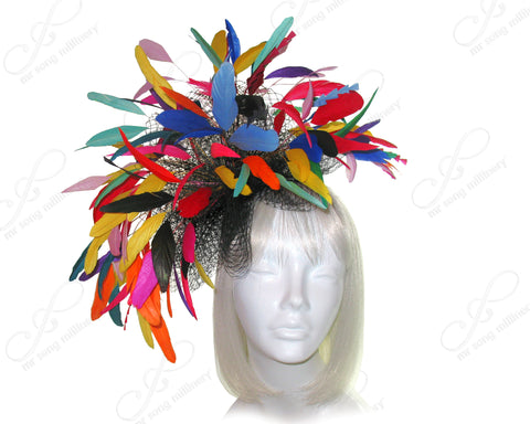 Birdcage Veil Fascinator Headband With Premium Feathers - Multicolor