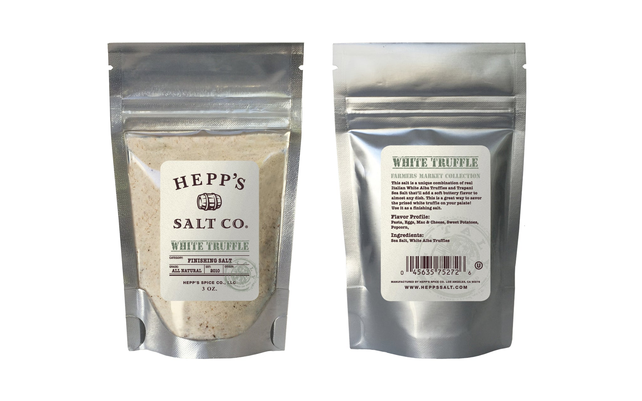 White Truffle Sea Salt 3 oz Pouch - HEPPS SALT CO.